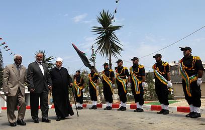 טקס קבלת הפנים לשייח קרדאווי (צילום: AFP)