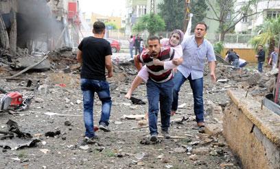 אזור הפיצוצים, היום בטורקיה (צילום EPA)