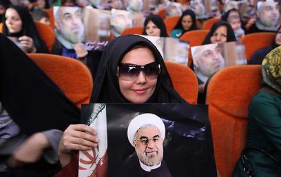 תומכות של המועמד חסן רוחאני (צילום: AP)
