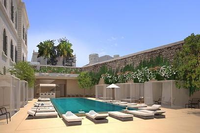 הדמיית בריכת השחייה. גם לדיירים בפרויקט המגורים תהיה גישה אליה (צילום: Felix Montesquiou)