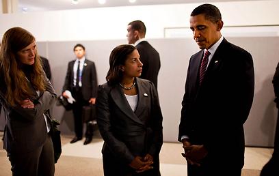 לחצו על הנשיא להתערב צבאית בלוב. אובמה, רייס ופאוור (צילום: רויטרס)