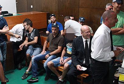הארכת המעצר של החשודים, אתמול בבית המשפט (צילום: מוטי קמחי)