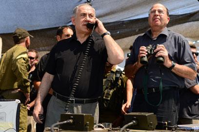 """איום מפורש לכיוון דמשק. נתניהו ויעלון, היום (קובי גדעון, לע""""מ)"""