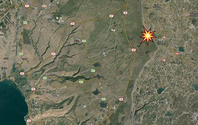 אזור התקרית. תל פארס מסומן באדום, המוצב - מזרחית לגדר