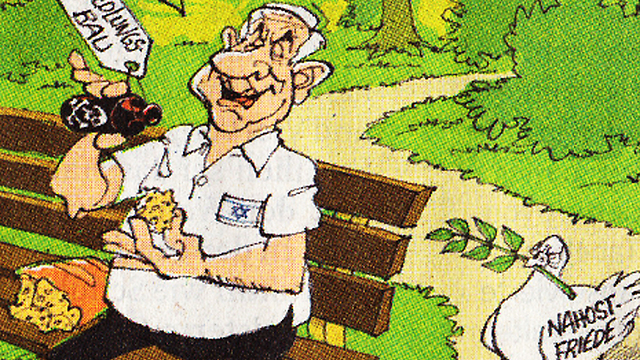 german cartoon depicts netanyahu as toxic to peace process
