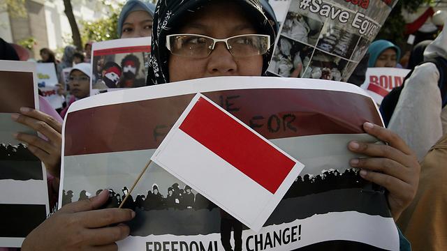 באינדונזיה, המדינה המוסלמית המאוכלסת ביותר, נרשמו הפגנות המוניות (צילום: AFP)