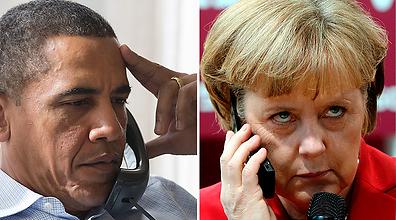 קנצלרית גרמניה דורשת מעשים. מרקל ואובמה (צילום: Amanda Lucidon, EPA)