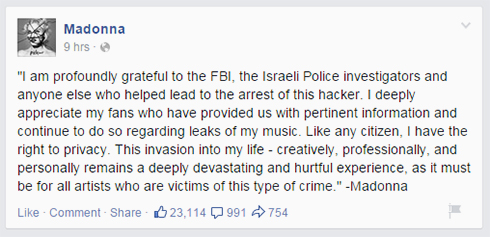 Israeli behind Madonna album leak named