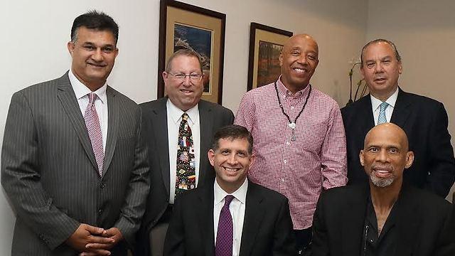 Kareem Abdul-Jabbar and the Israeli consul general share