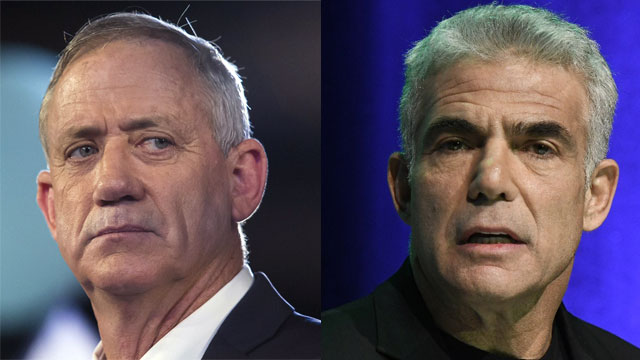 Gantz and Lapid have last minute talks on possible merger