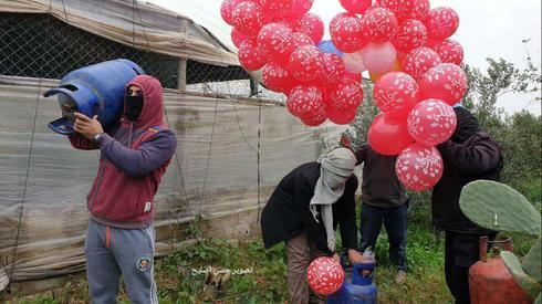 Запуск шаров с бомбами из Газы